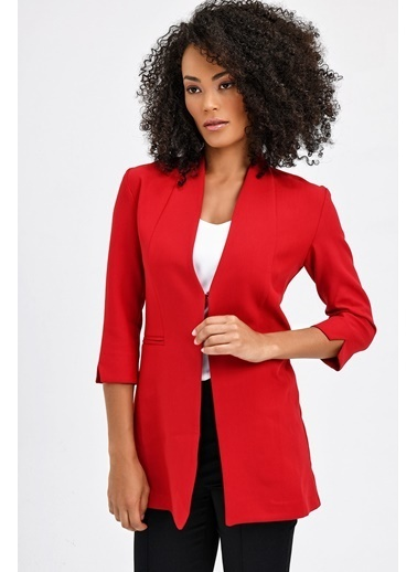 Jument Hakim Yaka Flato Cepli Uzun Yırtmaçlı Kol Ceket -Siyah Kırmızı